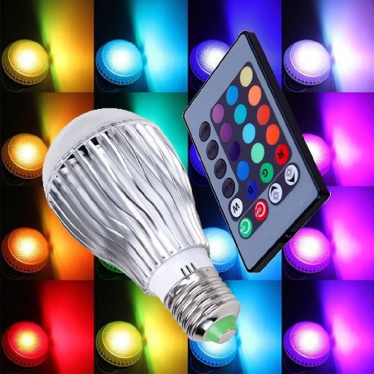 color changing led light bulb with remote control redeem source. Black Bedroom Furniture Sets. Home Design Ideas