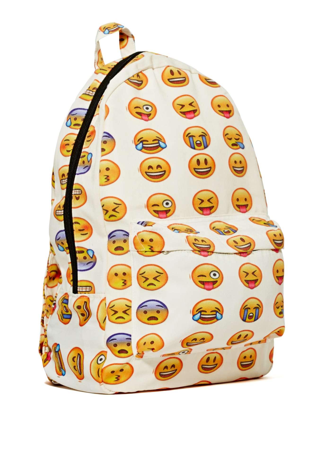 backpack – white emoji side