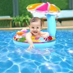 Inflatable Child Swim Ring With Sun Shade Redeem Source